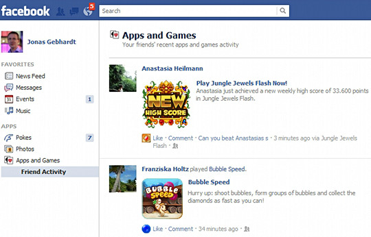 Facebook games news feed