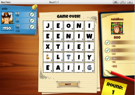 New GameDuell game: Word Twist