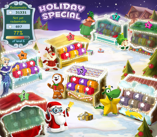 Collect bonuses in GameDuell's Holiday Special